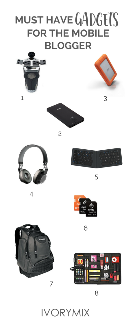 must have gadgets for the mobile travel blogger, including portable wifi , bluetooth headphones and more