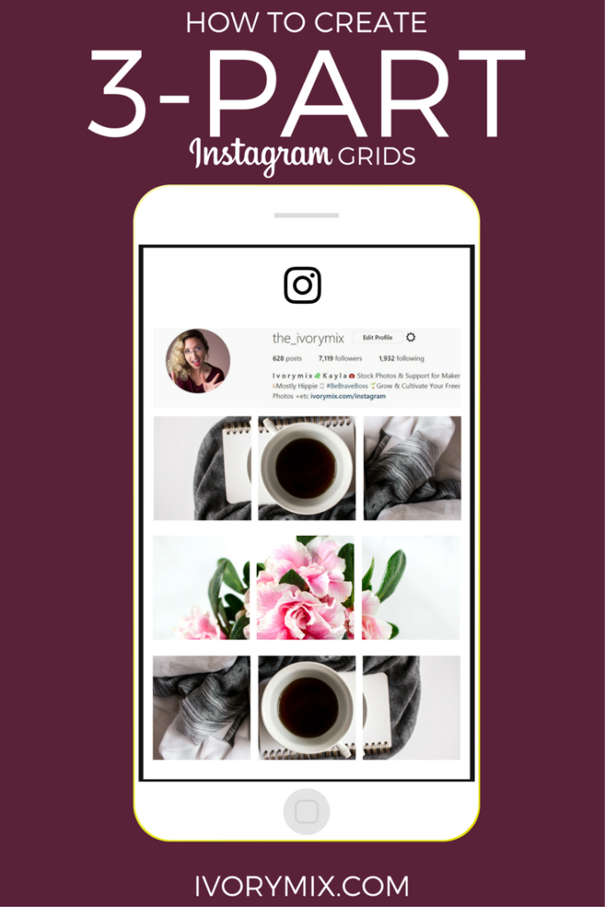Create 3 part Instagram post a grid collage