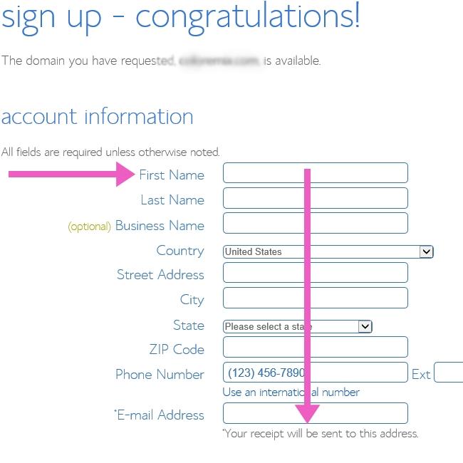 Start a blog - enter your account info