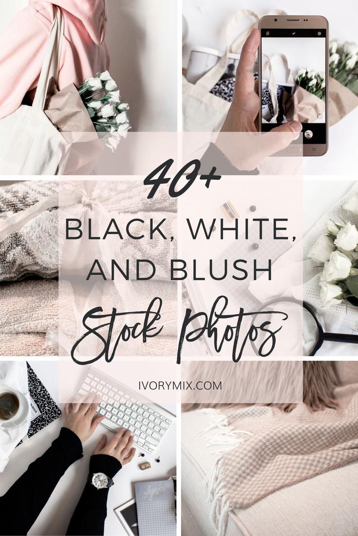 40 Black White and Blush Stock Photos
