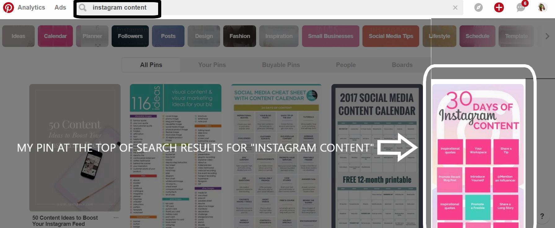instagram content PINTEREST KEYWORDS