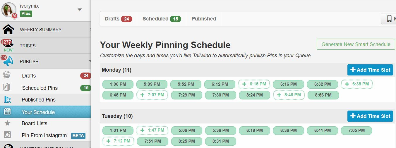 Tailwind Pinterest Smart Schedule