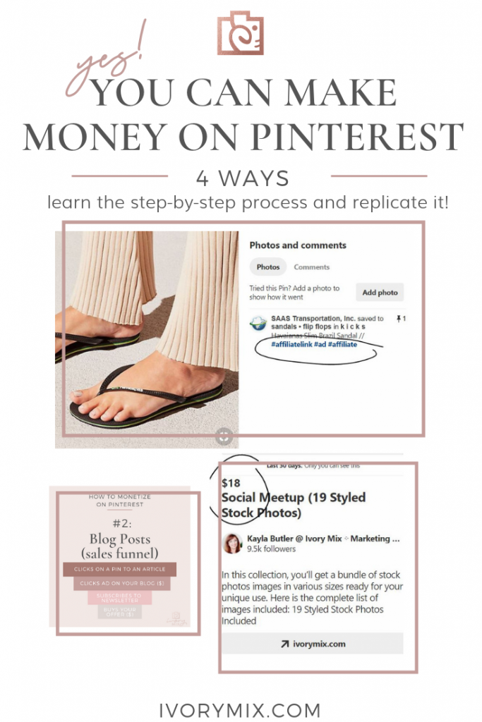 Here's how I make money on pinterest 4 different ways - you can too (even without a blog)