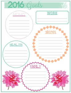 NEW YEAR'S RESOLUTIONs 2016 GOALS PRINTABLE