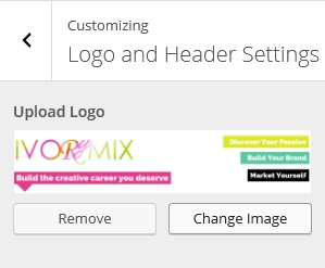 Logo and header settings Change Image
