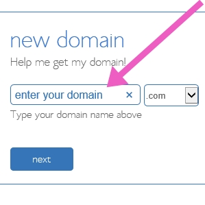 Start a blog - enter your domain name