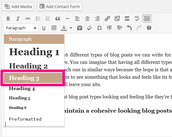 Use the same heading size(s) in all of your articels