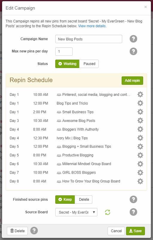 BoardBooster Schedule Campaign Example