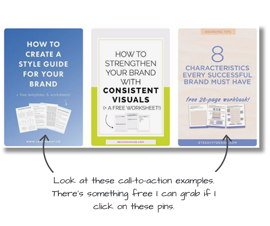 Example pin designs with clear call to action
