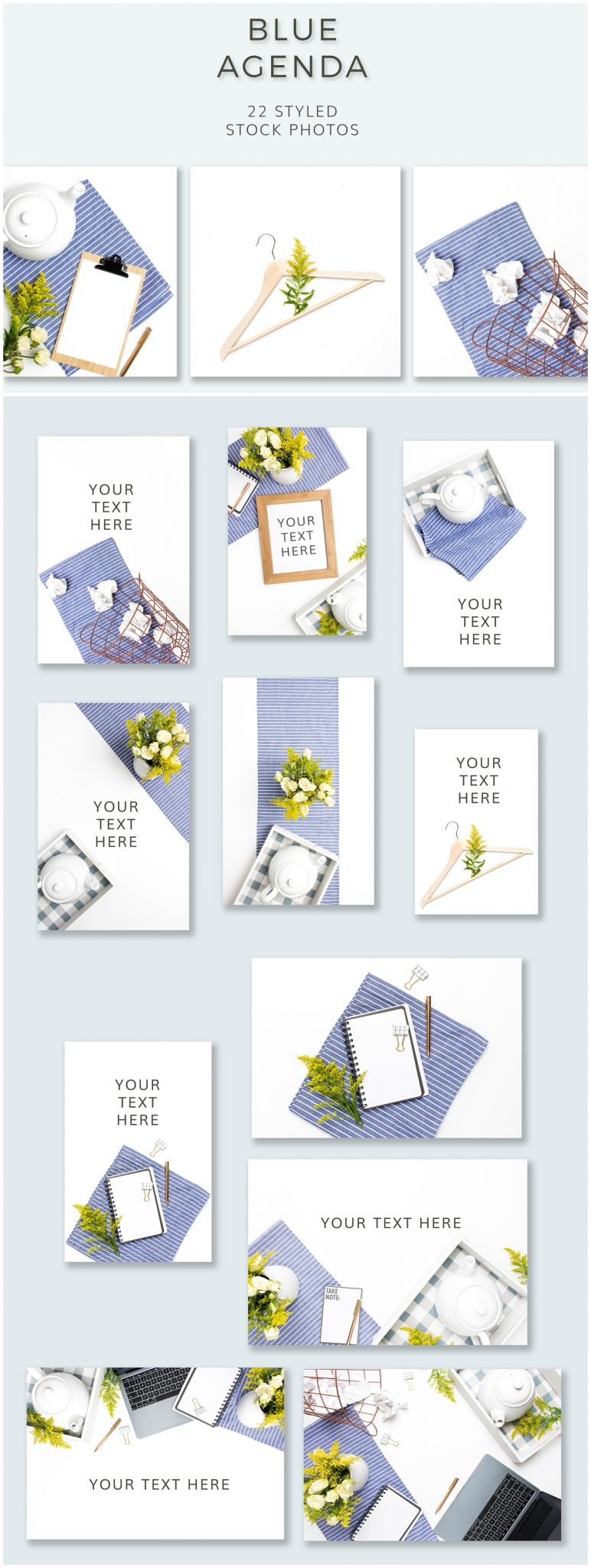 Styled stock photos blue and yellow flatlays from Ivory Mix, a collection of photos inspired by home tea and the kitchen