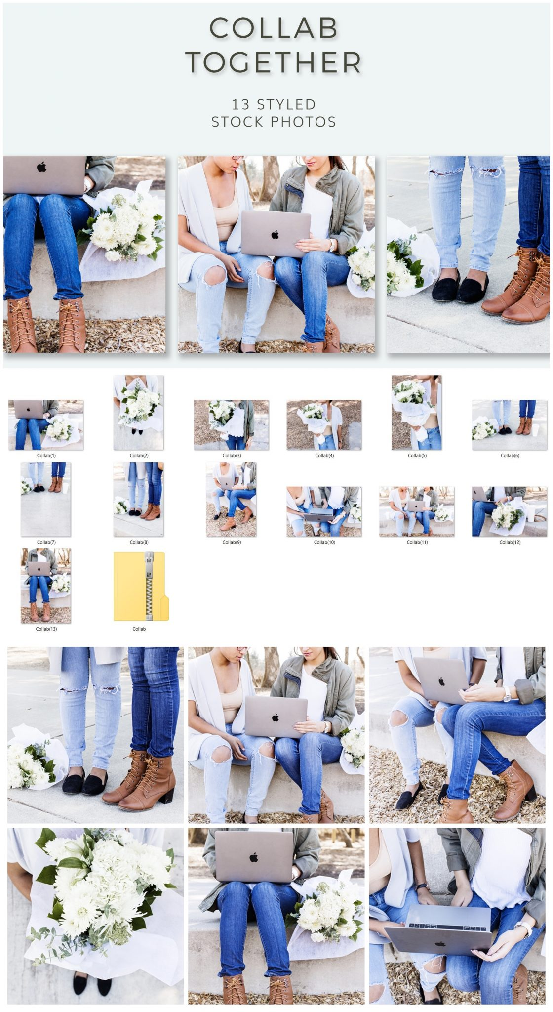 Styled stock photos _ Collaborate together for influencers and social media. Denim, Floral, macbook, friends and more
