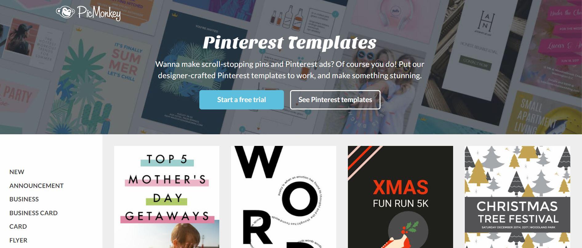 picmonkey pin design templates
