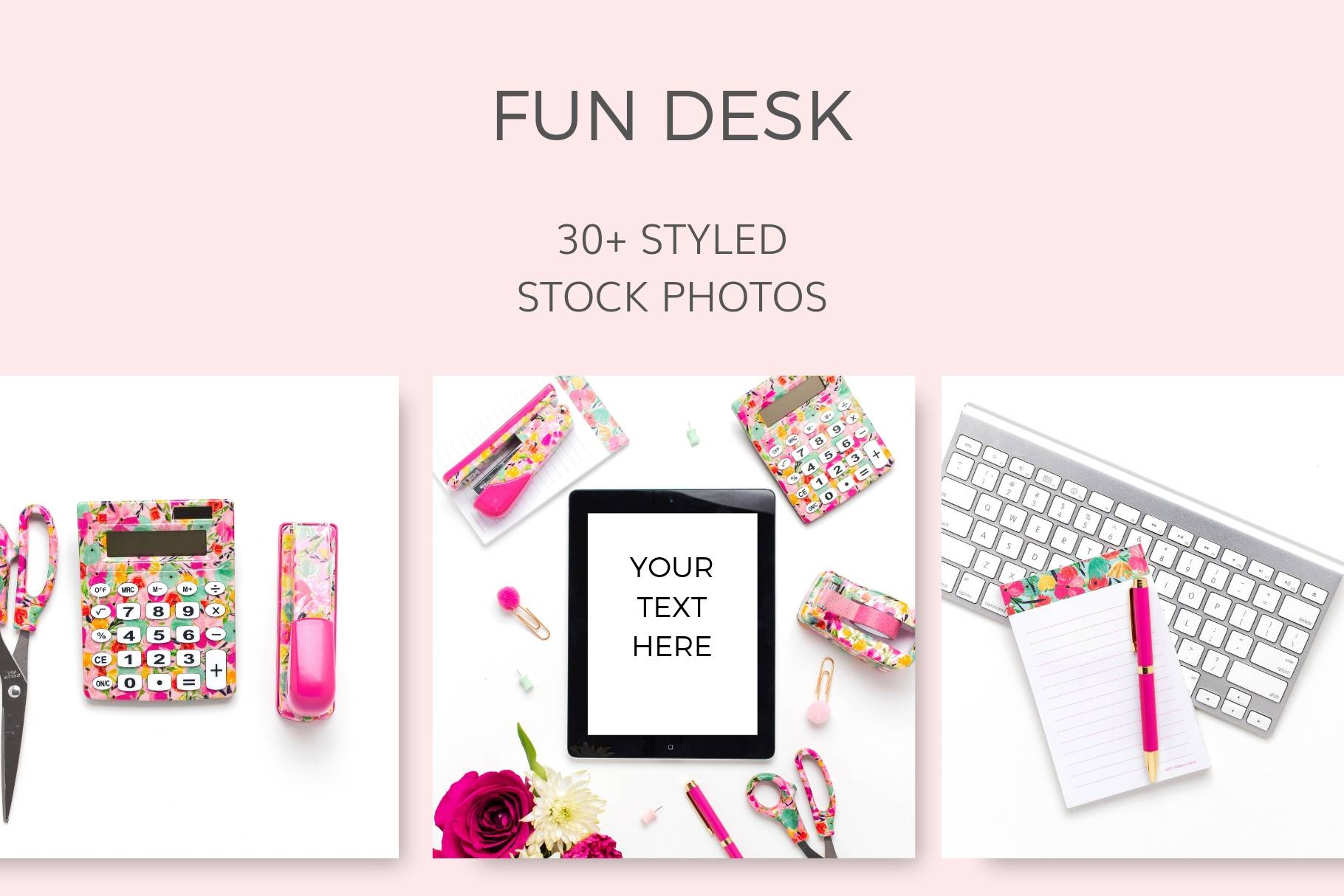 Fun Colorful Flatlay lay flat Desk Supplies Styled Stock Photos Pink Yellow Teal
