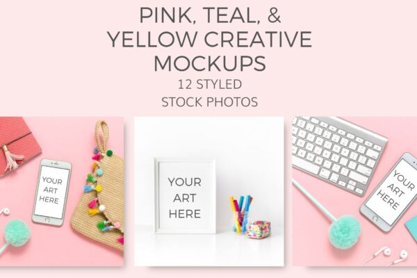 pink, teal, yellow, mockups Styled Stock Photos by Ivory MIx(1)