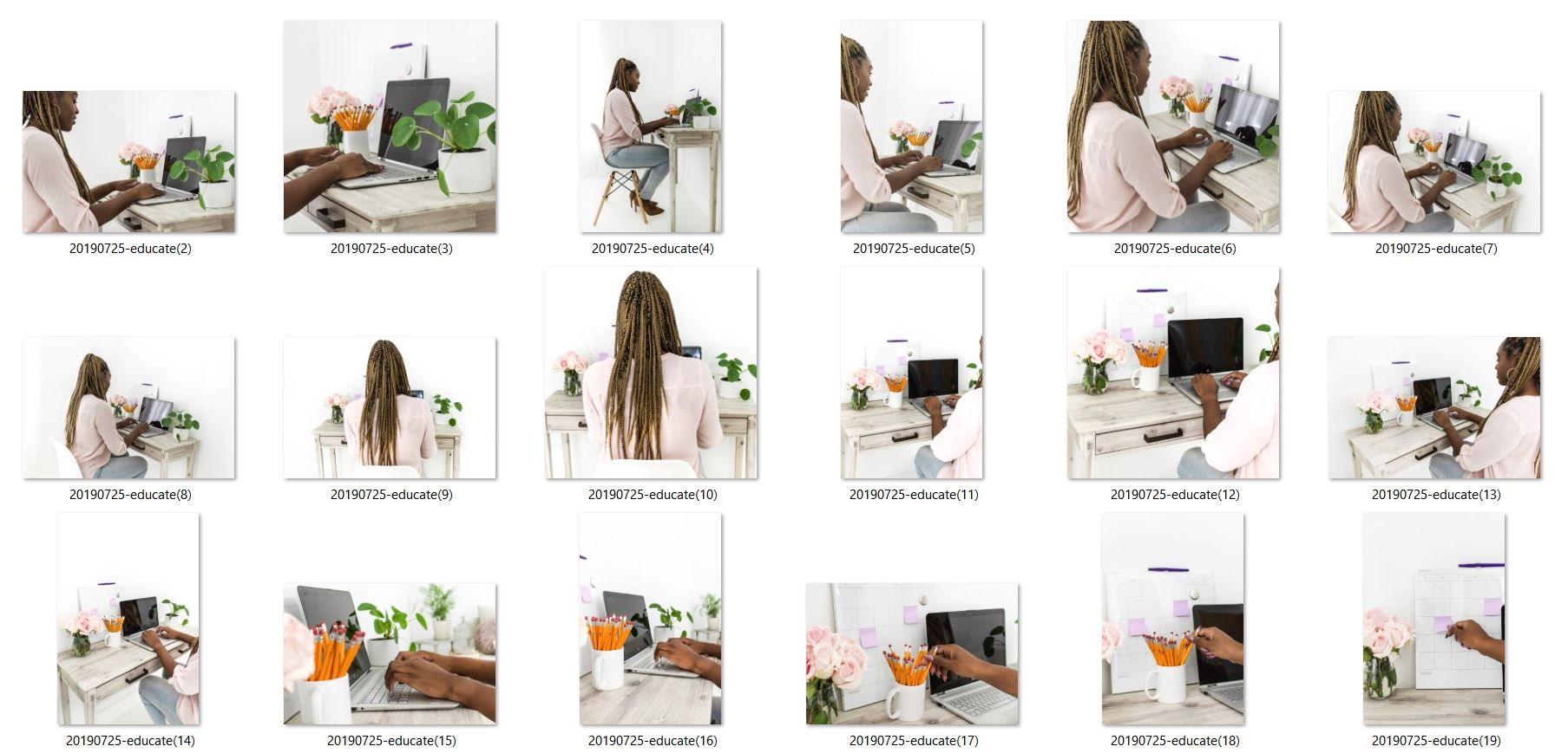 woman of color blogger business stock photos styled pictures - braids