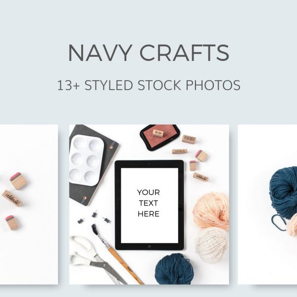 Navy Grey Craft Styled Stock Photos