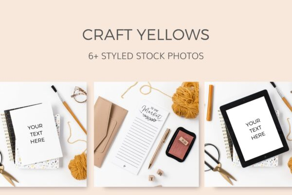 Yellow Crafting Styled Stock Photos