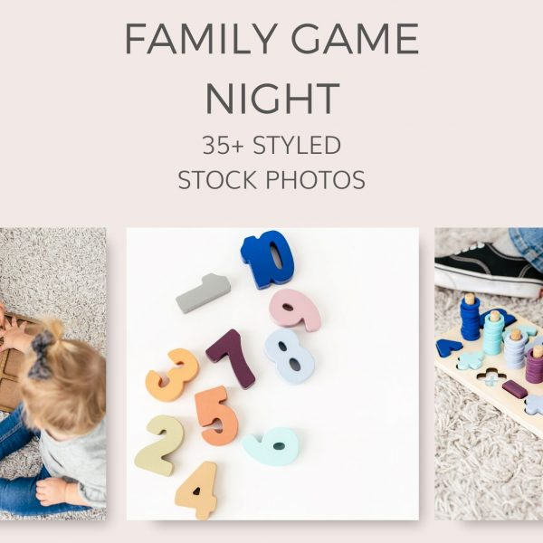 Family Kids Game Night New Years Styled Stock Photos