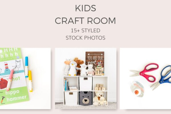 Kids craft room stock photos