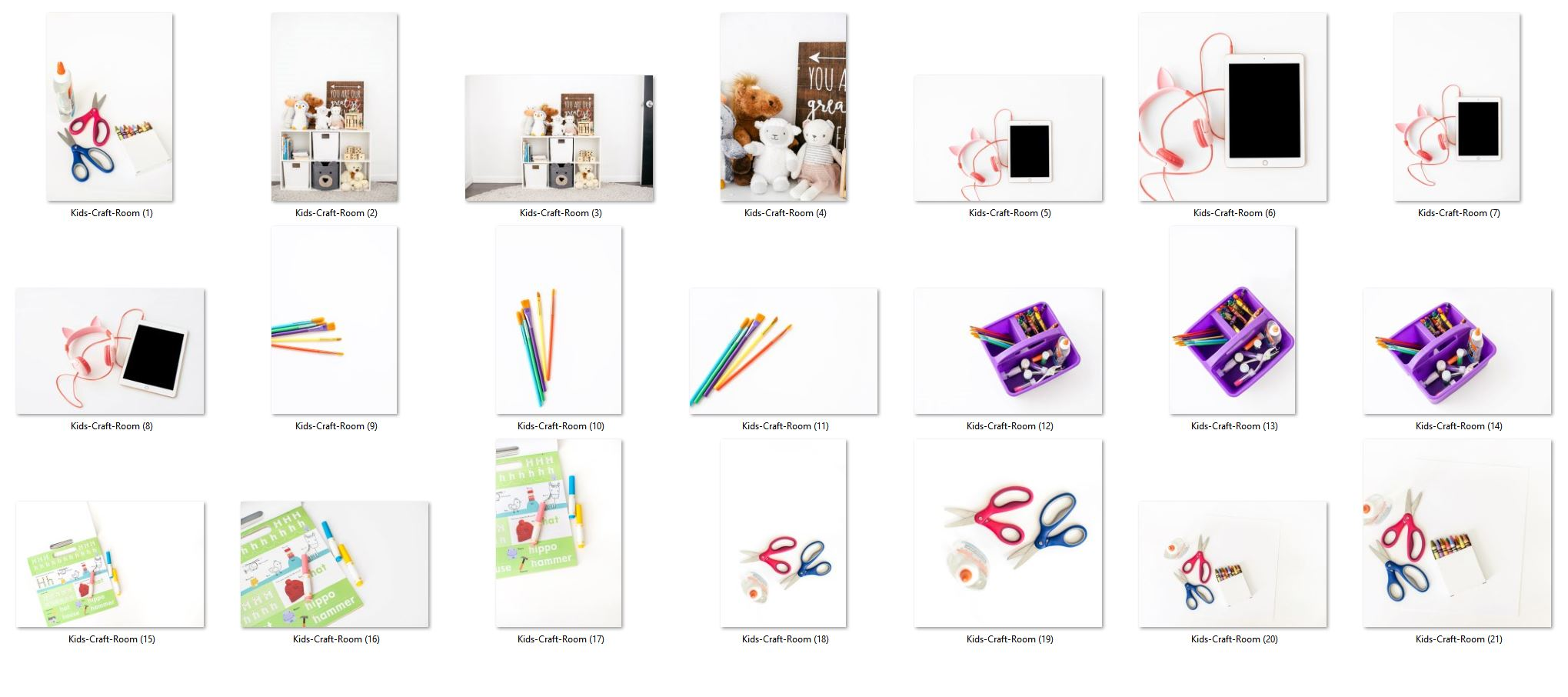 Kids craft room styled stock photos
