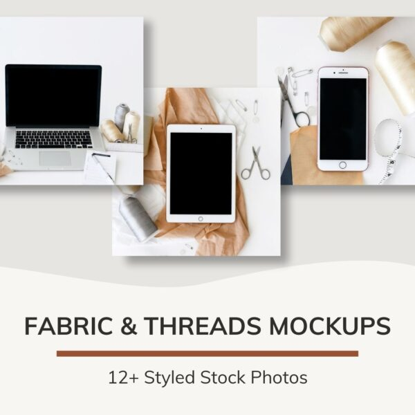 threads and fabric mockup stock photos