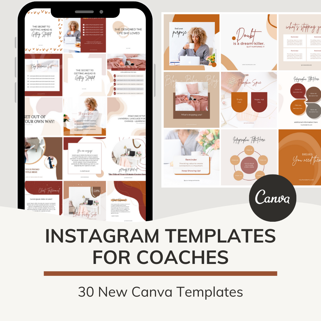 Instagram templates for coaches - 30 days - a month of instagram templates